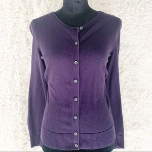 CROFT & BARROW Purple Button Down Sweater Cardigan